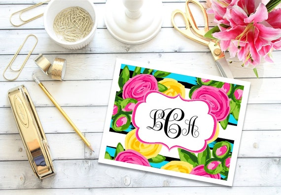 Personalized Stationery, Preppy Note Cards, Floral Note Cards, Custom Note Cards, Thank You Notes, Monogrammed Note Cards, Stationary