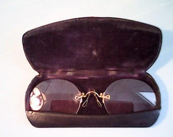 CHILD PINCE NEZ Antique With Original Case Fits U