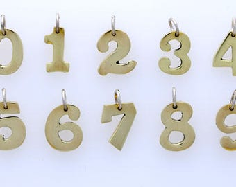 Brass Number Charms, Hand Crafted, Choice of Number