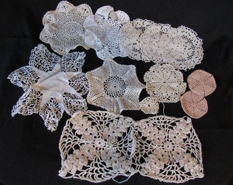 Lot of 10 Small Vintage Doilies Hand Crocheted and Machine Lace Assorted Shapes Shabby Cottage