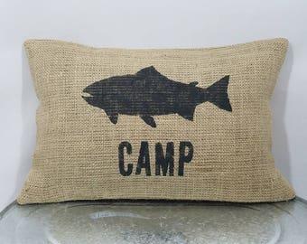 Custom made rustic fish CAMP black  (or custom color) burlap pillow cover/sham - Custom size and color option!