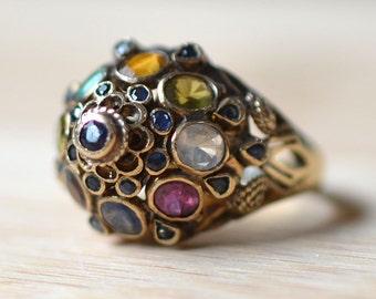 Vintage 1960s 18K Gold Multi Gemstone Thai Princess Ring - Multi Gemstone Ring - 1960s Multi Gem Ring - Thai Ring - 18K Yellow Gold Ring