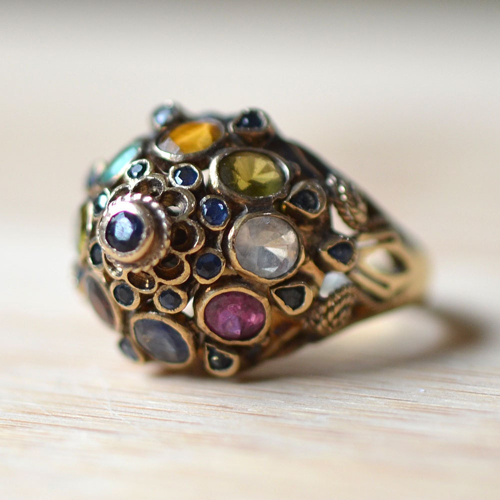 vintage 1960s 18k gold multi gemstone thai princess ring