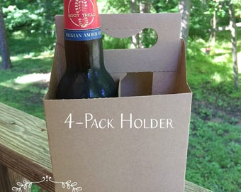 "4 Pack Beer Carrier  • 12 Oz Bottle Holders •  Kraft Cardboard Beverage Carrier • 5"" x 5"" x 7-1/4""  • Craft Beer • Home Brew • Blank Design"