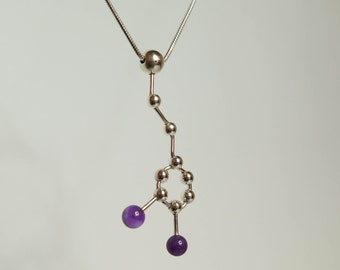 Dopamine Molecule (Love Drug) - Sterling Silver and  Amethyst Necklace.
