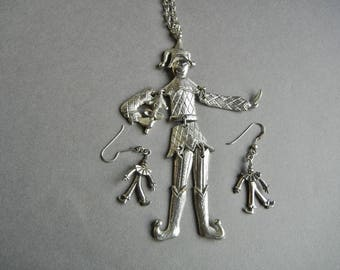Huge articulated jester, large articulated clown, silver jester, vintage silver jester, Polcini style, marionette necklace, italian jester