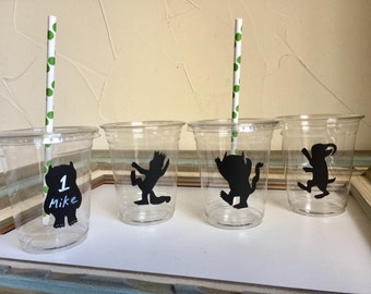 Where the Wild Things Are Party Cups Plastic Disposal Cups Chalkboard Label Name Labels Table Decor Paper Straws 1st Birthday Prince Max