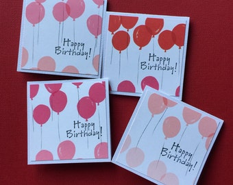 Red ombre balloons etsy balloons mini birthday cards happy birthday balloon cards pink red ombre mini gift bookmarktalkfo Images