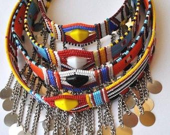 AFRICAN BEAUTIFUL Hand-made Kenya Maasai Bead Assorted Necklaces (4 Piece set)