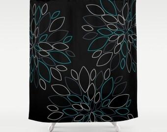 black and turquoise shower curtain. Floral Shower Curtain  Bathroom Decor Black Grey Aqua Blue Home Bath Abstract Teal Mint Modern