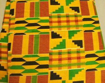 Kente print African fabric per yard / African textiles/ African prints/ kente cloth fabrics/ Kente Stoles/ Clothing/ Decor