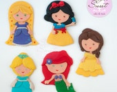 5 Princess Cake Toppers, ...