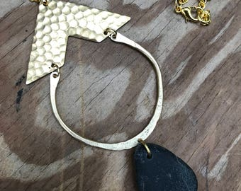 Gold Triangle Hand Hammered U Riverstone Pendant Necklace