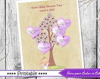 Fingerprint Tree - Baby Shower Tree - Pink - Digital printable