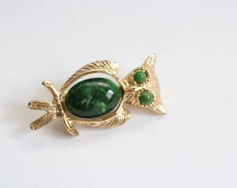 Green Owl Brooch - Gold Tone Owl Brooch - Owl Jewelry - Gold Owl Pin