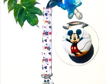 MICKEY MOUSE Paci clip Pacifier Clip baby kids child Soothie Clip Pacifier Holder Fits all Pacifiers Great for Baby Shower