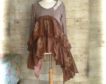 Pink Sunshine Shabby Steampunk Funky ragdoll upcycled knit floral rustic Boho altered Clothing dress top tunic artsy lagenlook lace layered