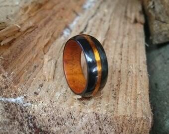 Carbon fiber wood copper ring