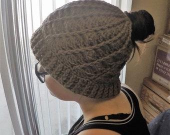 Messy Bun Beanie Hat Divinity Swirl Ponytail Hat Hand Crochet (Mocha, Brown, Tan, Suede)