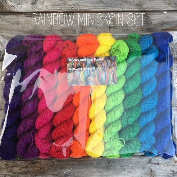 Rainbow Miniskein BFL Gift Set, 10 x 20g bright solid colours bluefaced leicester, with over 200g indie dyed yarn
