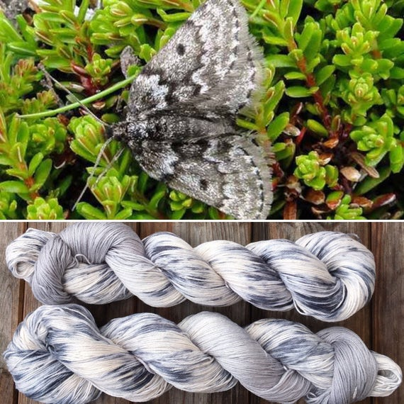 Mountain Moth, grey gray speckle dyed pima cotton indie sock yarn vegan