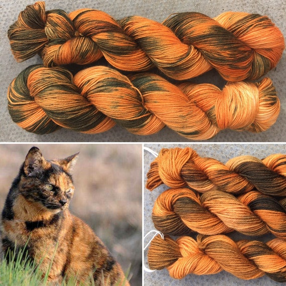 Tortoiseshell, cat inspired 4ply fingering superwash merino nylon blend indie sock yarn