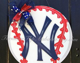 3D Yankees Baseball Wood Door Hanger Play,Baseball wreath,Yankees Door Hanger,Yankees Wreath,Baseball Door Hanger,Yankees Fan,party decor