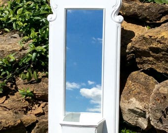 """Vintage Ornate 23"""", White Syroco Mirror with Pocket, Wall Planter, Wedding Decor, French Country, Cottage, Coastal, Shabby Chic"""