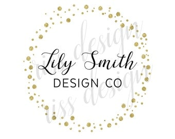Premade Small Business Logo - Premade Etsy Business Logo / Bubble Dots Circle Watercolor Effects / Calligraphy logo for your business