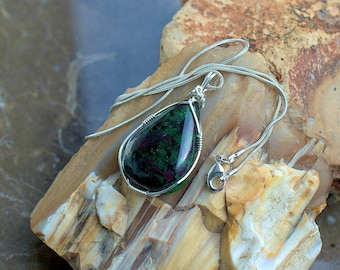 Anyolite pendant Ruby in Zoisite pear shape pendant silver wire wrapped handmade necklace