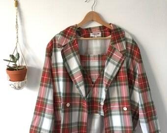 Vintage Plaid Blazer, Vest and Skirt Set - Size 40/Medium - Alpha Cubic