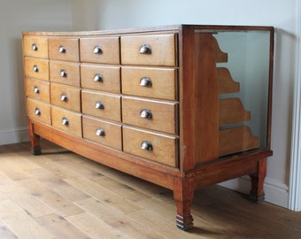 NOW SOLD*** Vintage industrial storage / shop counter / retro furnishings / display / props / retro storage / shop fittings / drawers