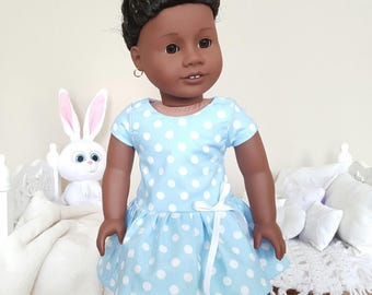 18 inch doll spring dress | light blue dress