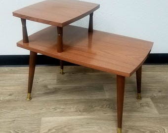 Two Tiered Vintage Table Retro, Mid Century, Modern, Danish