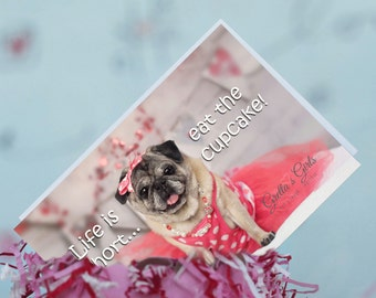 Pug Magnet - Life Is Short Eat The cupcake - 4 x 6 Pug magnet - by Pugs and Kisses