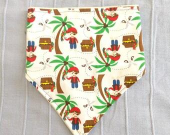 Pirate Bandana Bib - Baby dribble neckerchief bib vintage retro palm tree parrot treasure