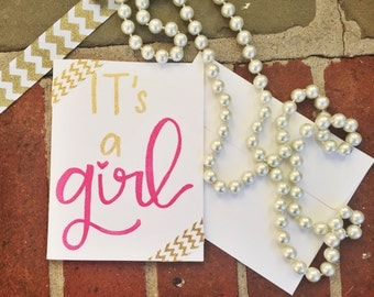 It's a Girl Greeting Card / Baby Shower / Baby Girl / New Baby Card / Sprinkle Card / Heat Embossed Card / Pink and Gold Baby Card