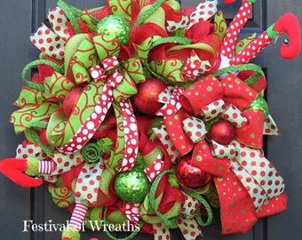 Christmas Wreath - Christmas Deco Mesh Wreath - Christmas Front Door Wreath - Elf Wreath - Elf Mesh Wreath - Christmas Mesh Wreath