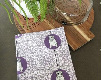 English Bulldog Tea Towel -  English Bulldog dish cloth, kitchen gift - in Purple and White