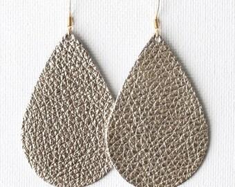 Pale Gold Grain Leather Tear Drop Earrings