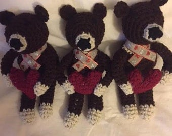 Hand Crochet Stuffed Toy Valentine Brown and Tan Bear Doll with Red Heart