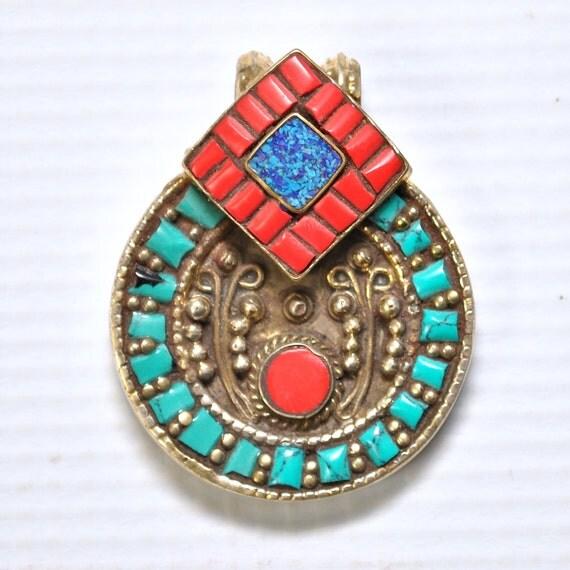 Tibetan Coral, Turquoise and Lapis Pendant #4994