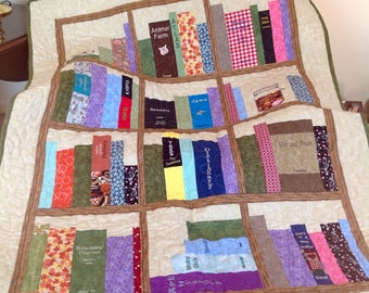 "Book Shelves Embroidered and Pieced Throw Quilt, 39"" x 51"""