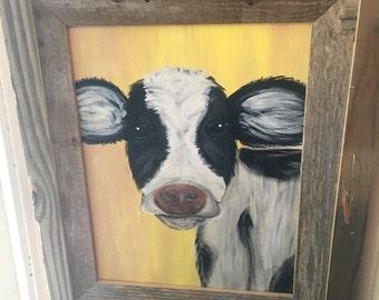 Framed Art- Cow Painting on Canvas- Farmhouse Decor- Farm Animal Nursery- Black and White Wall Art- Cow Nursery- Farmhouse Wall Decor- Cow