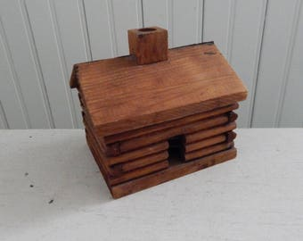Wood Log Cabin Incense - Folk Art Log Cabin Incense Burner - Made in 1960s by Campfire Products, Kalispell, Michigan - Pure Balsam Needles