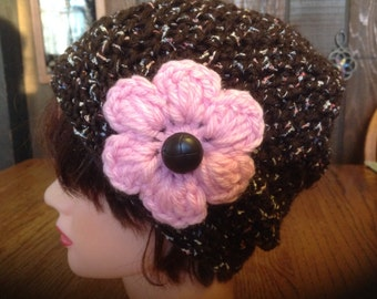 Crochet Beanie, Winter Cloche, Ski Beanie, Snow Beanie, Chocolate Brown Hat