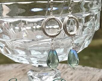 Sea Green briolette silver plated dangle earrings