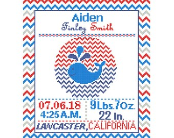 Custom Pattern Cross Stitch Birth Announcement Cross Stitch Birth Record Cross Stitch Baby Boy Whale Red Blue Navy Nautical Nursery chevron