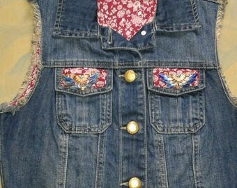 Denim Waiscoat Unique hand crafted & embellished project size 10