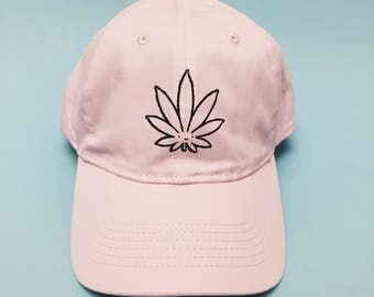 Weed Cutie Dad Hat by Fashionisgreat - Pink Khaki White Black